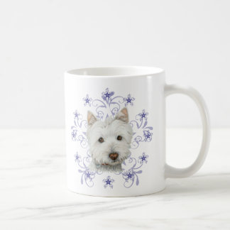 Christmas Cute Westie Dog Art and Snow flake Coffee Mug