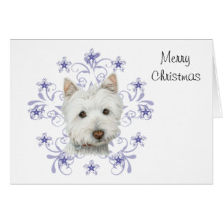 Christmas Cute Westie Dog Art and Snow flake Greeting Card