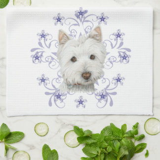 Christmas Cute Westie Dog Art and Snow flake Hand Towel