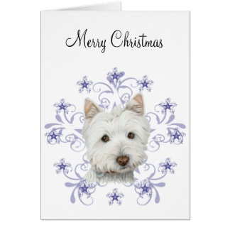 Christmas Cute Westie Dog Art and Snow flake stars Card