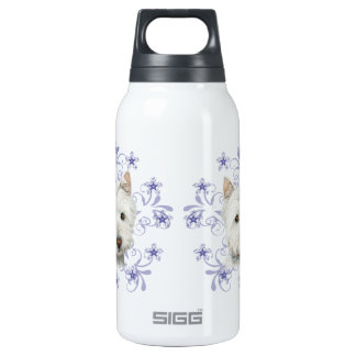 Christmas Cute Westie Dog Art and Snow flake stars Insulated Water Bottle