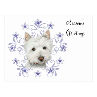 Christmas Cute Westie Dog Art and Snow flake stars Postcard