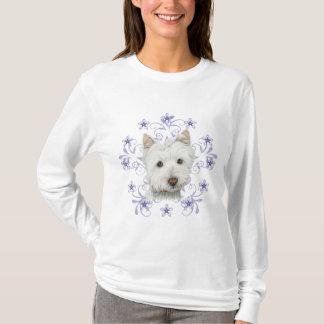 Christmas Cute Westie Dog Art and Snow flake stars T-Shirt