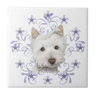 Christmas Cute Westie Dog Art and Snow flake Tile