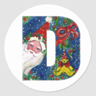 CHRISTMAS D LETTER / SANTA CLAUS WITH RED RIBBON CLASSIC ROUND STICKER