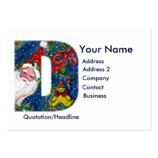 CHRISTMAS D LETTER / SANTA CLAUS WITH RED RIBBON LARGE BUSINESS CARDS (Pack OF 100)