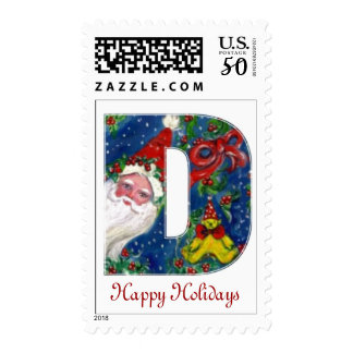 CHRISTMAS D LETTER / SANTA CLAUS WITH RED RIBBON POSTAGE