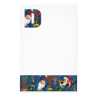 CHRISTMAS D LETTER / SANTA CLAUS WITH RED RIBBON STATIONERY