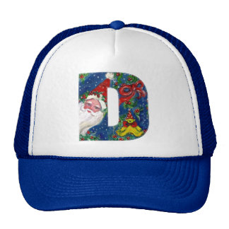 CHRISTMAS D LETTER / SANTA CLAUS WITH RED RIBBON TRUCKER HAT