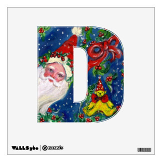CHRISTMAS D LETTER / SANTA CLAUS WITH RED RIBBON WALL DECAL