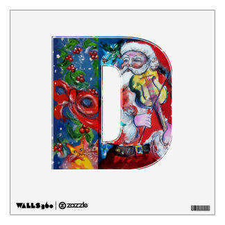 CHRISTMAS D LETTER /SANTA  CLAUS WITH VIOLIN WALL DECOR