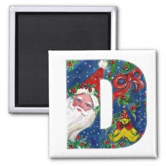 CHRISTMAS D LETTER / SANTA   RED RIBBON MONOGRAM 2 INCH SQUARE MAGNET