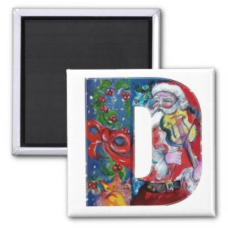 CHRISTMAS D LETTER / SANTA  WITH VIOLIN MONOGRAM 2 INCH SQUARE MAGNET
