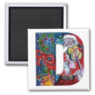 CHRISTMAS D LETTER / SANTA  WITH VIOLIN MONOGRAM REFRIGERATOR MAGNET