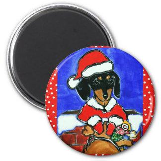 Christmas Dachshund 2 Inch Round Magnet