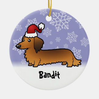 Christmas Dachshund (add your pets name) Ceramic Ornament