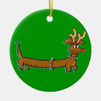 Christmas Dachshund Ceramic Ornament