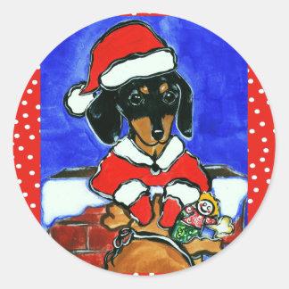 Christmas Dachshund Classic Round Sticker