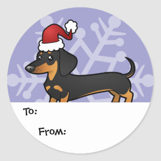 Christmas Dachshund Gift Tags (smooth coat) Round Stickers