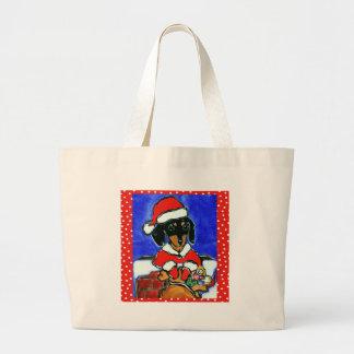 Christmas Dachshund Large Tote Bag