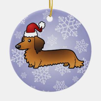Christmas Dachshund (longhair) Ceramic Ornament