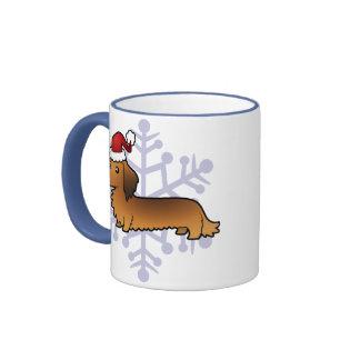 Christmas Dachshund (longhair) Coffee Mugs