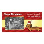 Christmas Dachshund (longhair) Photo Card