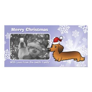 Christmas Dachshund (longhair) Photo Greeting Card