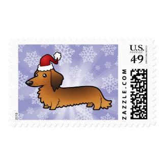 Christmas Dachshund (longhair) Postage