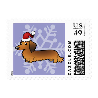 Christmas Dachshund (longhair) Postage Stamps