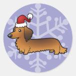 Christmas Dachshund (longhair) Round Stickers