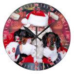 Christmas - Dachshund - Mickey & Madilyn Wall Clock