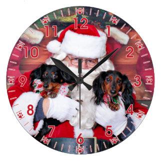 Christmas - Dachshund - Mickey & Madilyn Large Clock