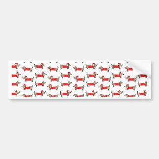 Christmas dachshund pattern bumper sticker