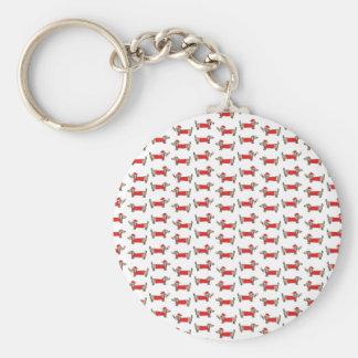Christmas dachshund pattern keychain