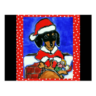 Christmas Dachshund Postcard