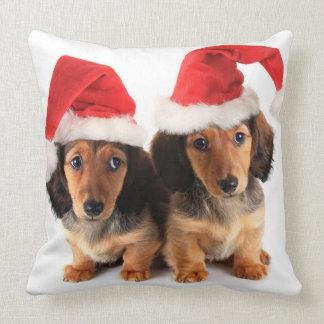 Christmas Dachshund Puppies Wearing Santa Hats Throw Pillow