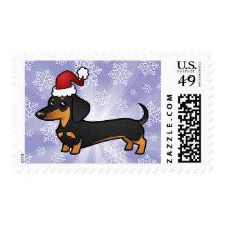 Christmas Dachshund smooth coat Stamp