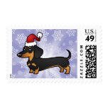Christmas Dachshund (smooth coat) Stamp