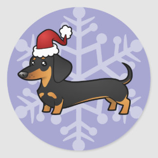 Christmas Dachshund (smooth coat) Round Stickers