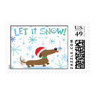 Christmas Dachshund Stamp