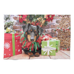 Christmas - Dachshund - Tanner Hand Towels