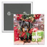 Christmas - Dachshund - Tanner Pinback Button