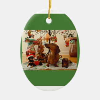 Christmas Dachshund (Ver.2) Ornament-Ceramic Oval Ceramic Ornament