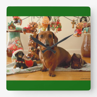 Christmas Dachshund (Version 1) Square Wall Clock