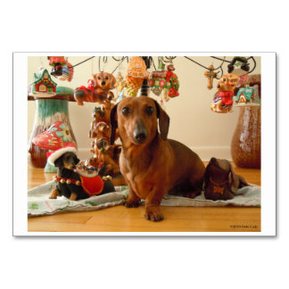 Christmas Dachshund (Version 1) Table Card