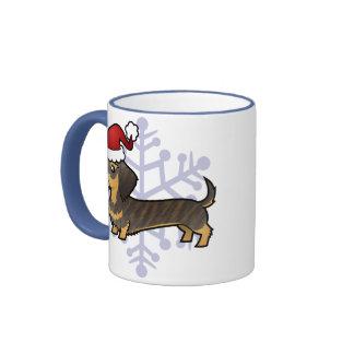 Christmas Dachshund (wirehair) Coffee Mugs