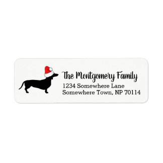 Christmas Dachshund with Santa Hat & Family Name Label