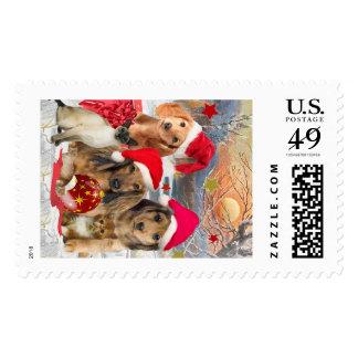 Christmas Dachshunds & Kitten Postage