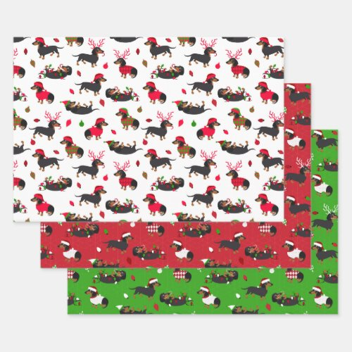 Christmas Dachshunds Wrapping Paper Sheets